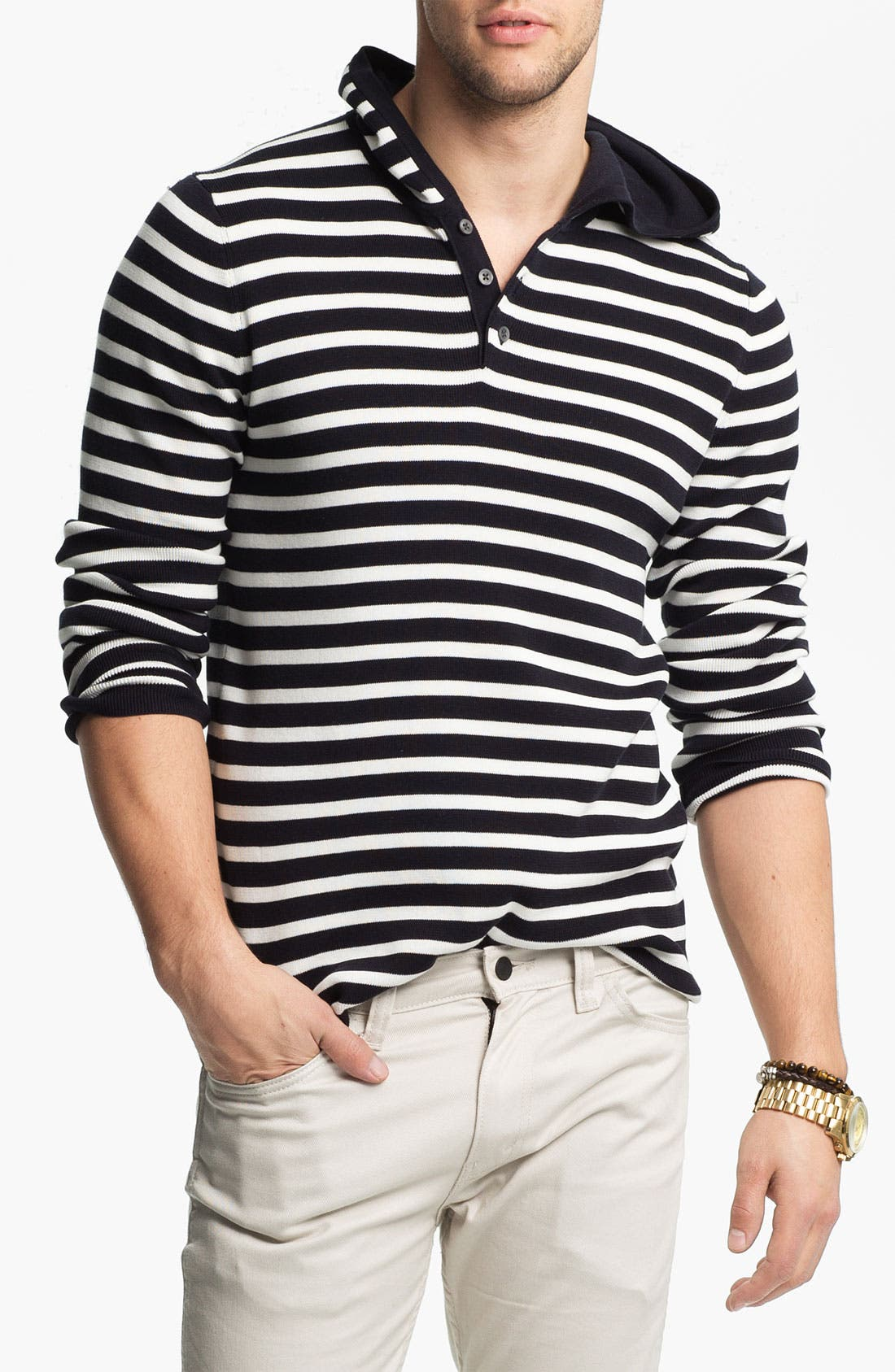 Alternate Image 1 Selected - Vince Stripe Hooded Henley