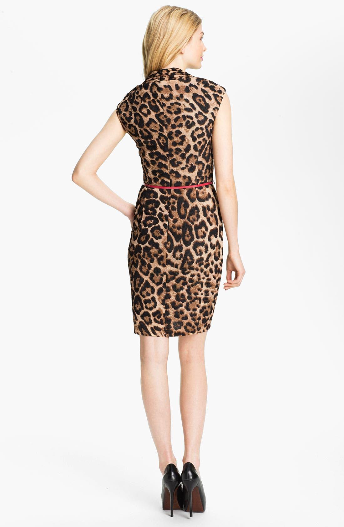 Alternate Image 2  - Ellen Tracy Belted Animal Print Sheath Dress