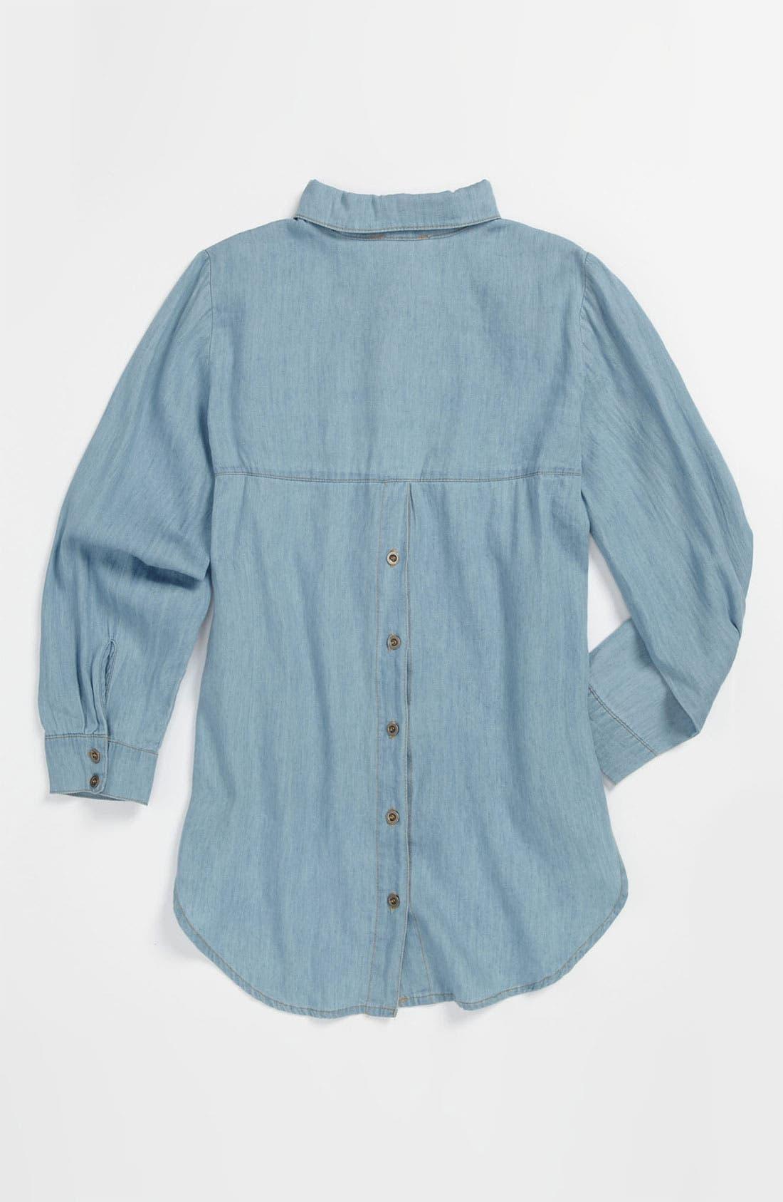 Alternate Image 2  - Mia Chica Chambray Shirt (Big Girls)