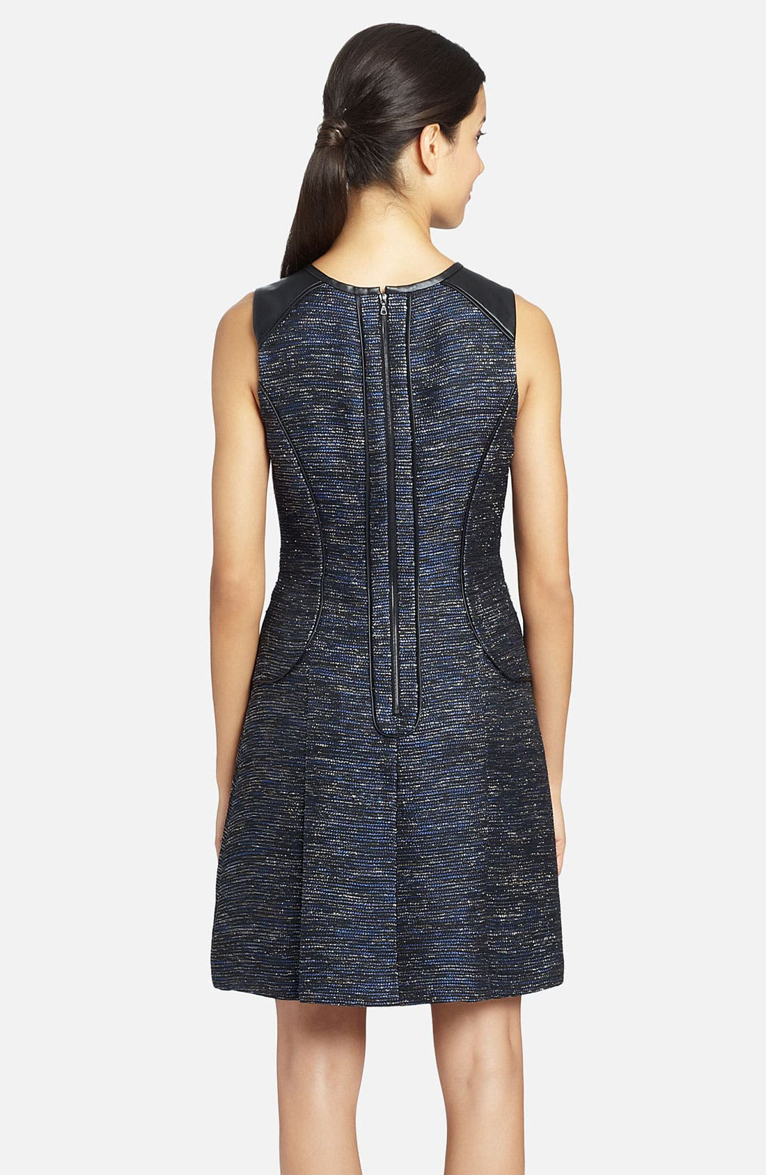 Alternate Image 2  - Cynthia Steffe 'Blair' Faux-Leather Piping Metallic Woven Dress