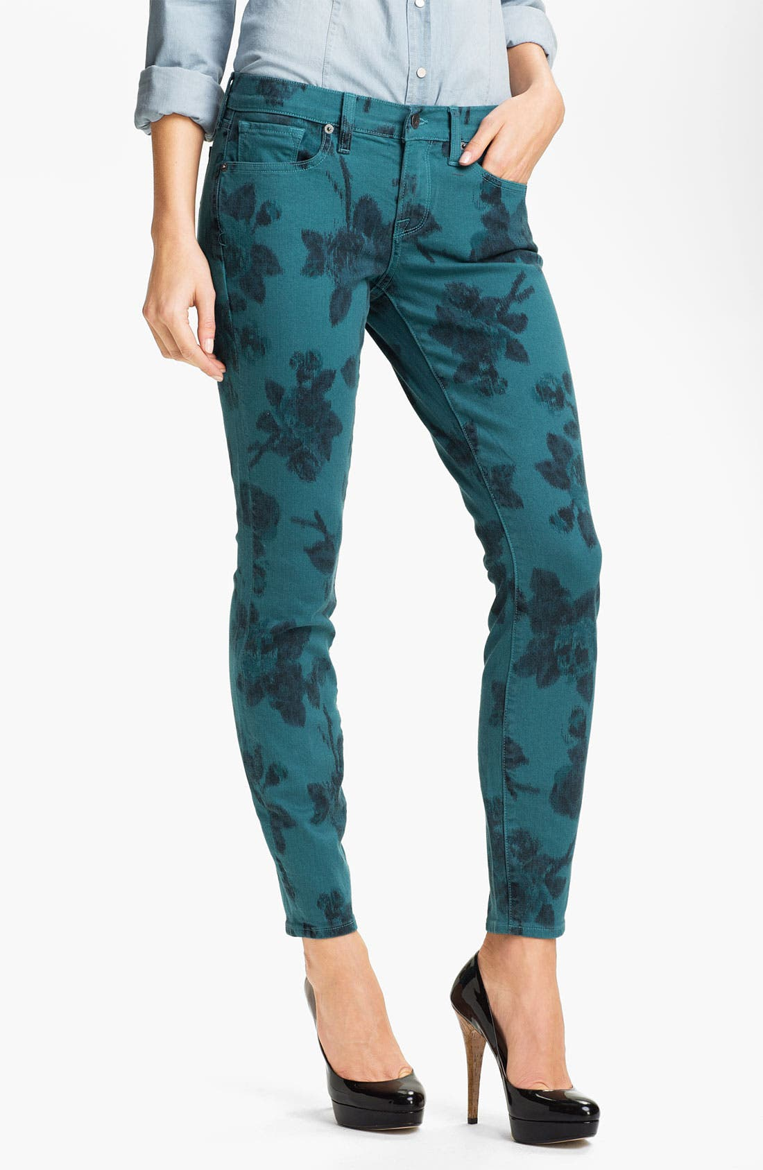Alternate Image 1 Selected - Lucky Brand 'Charlie' Ikat Print Skinny Jeans (Online Exclusive)