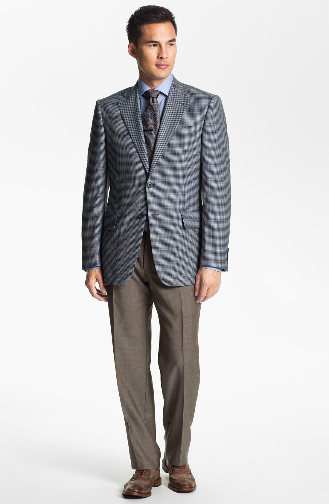 Alternate Image 4  - BOSS HUGO BOSS 'Jeffrey US' Flat Front Pinpoint Wool Trousers