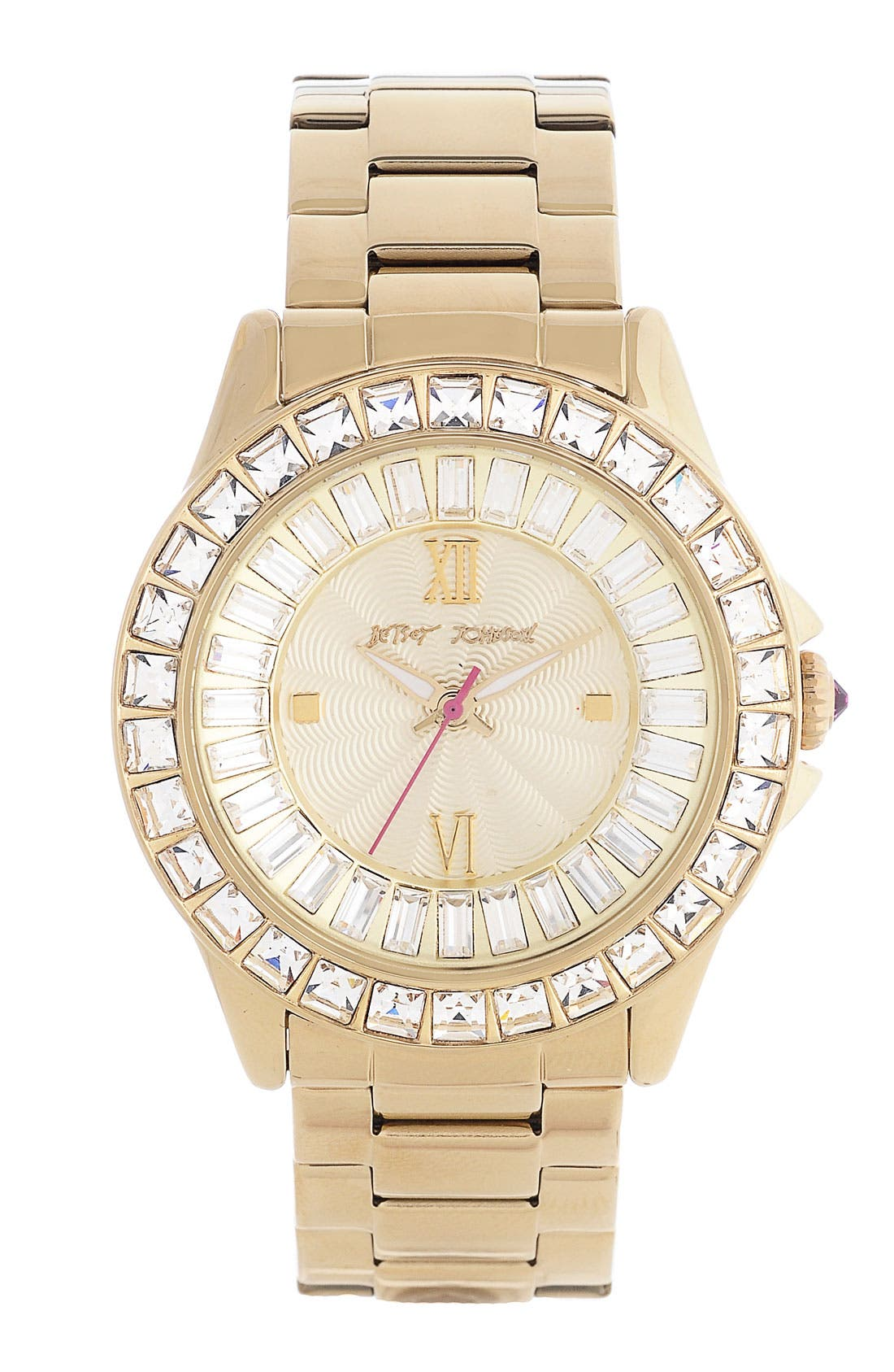 Main Image - Betsey Johnson Crystal Bezel Bracelet Watch, 40mm