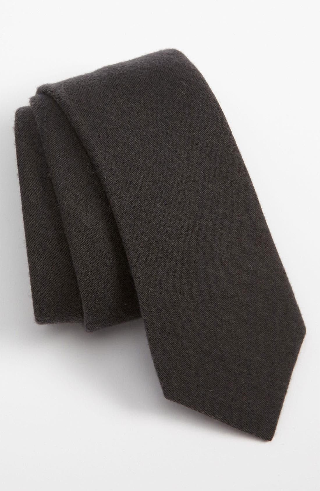 THE TIE BAR Solid Wool Blend Skinny Tie