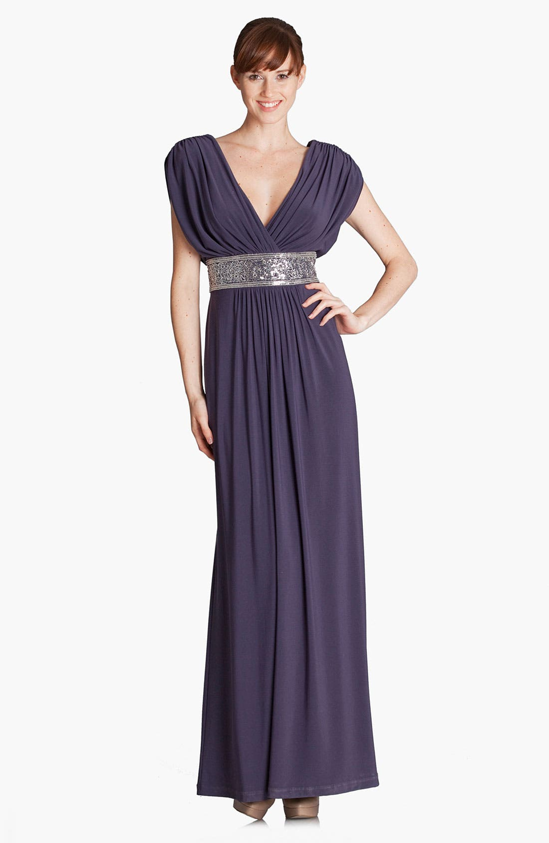 Alternate Image 1 Selected - JS Boutique Metallic Waist Pleated Surplice Gown