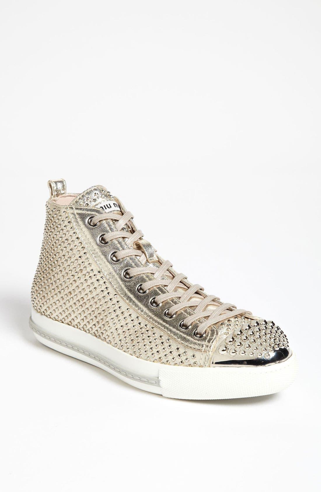 Alternate Image 1 Selected - Miu Miu Metal Toe High Top Sneaker