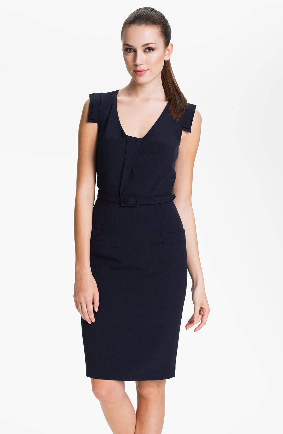 Main Image - Adrianna Papell Belted Tab Sleeve Sheath Dress