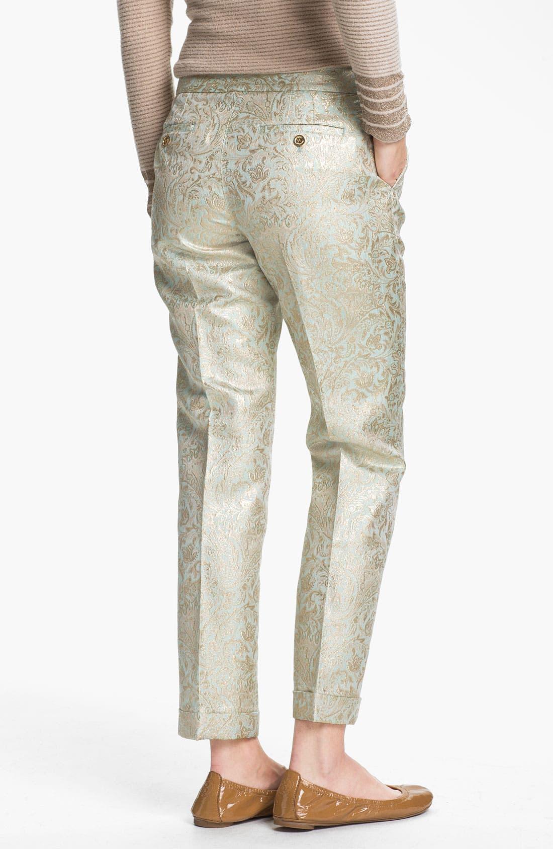 Alternate Image 2  - Tory Burch 'Lola' Metallic Silk Pants