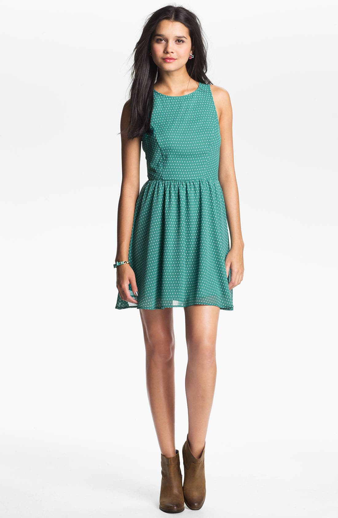 Alternate Image 2  - Lush Cutout Back Skater Dress (Juniors)