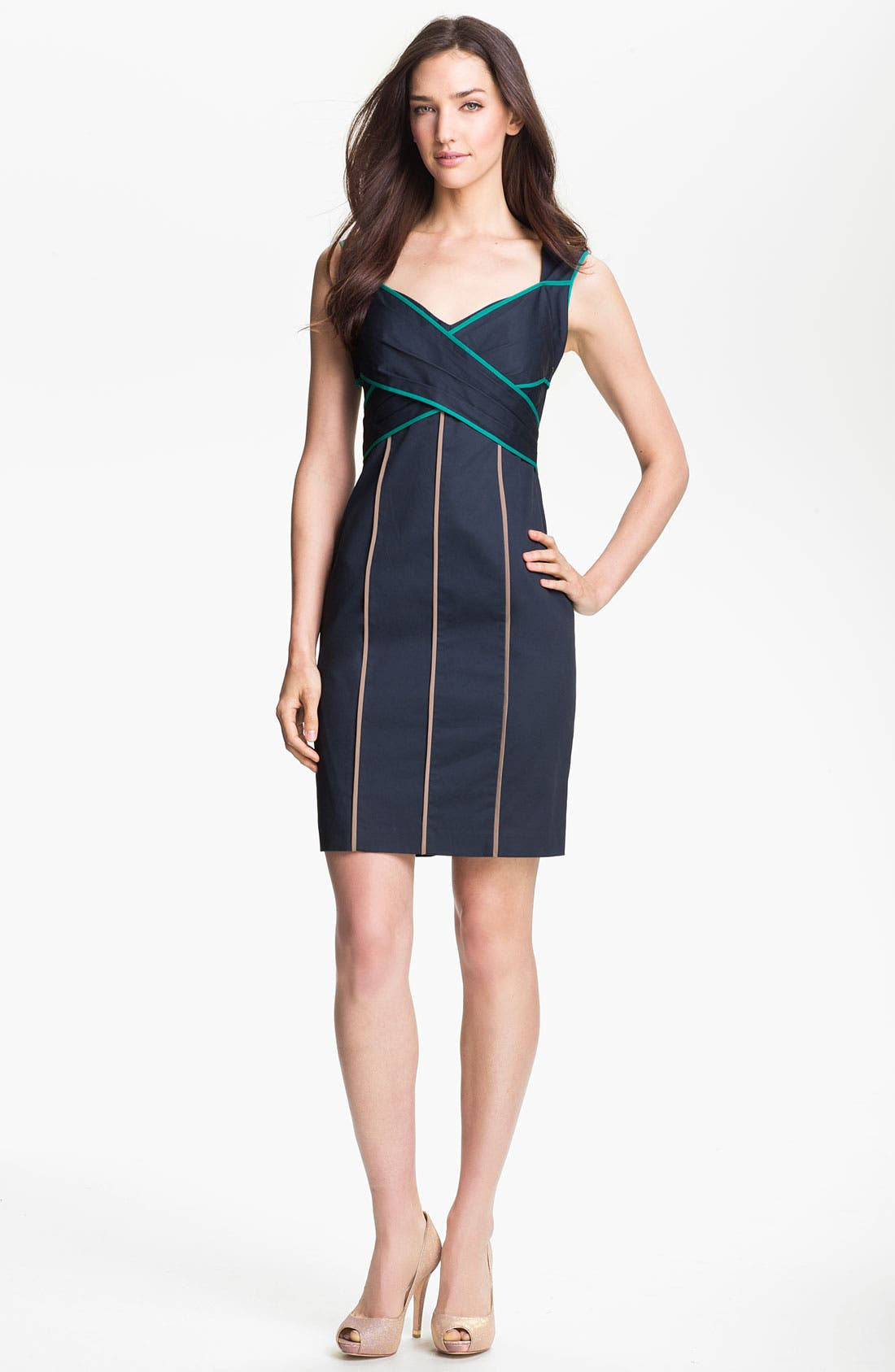 Alternate Image 1 Selected - Jessica Simpson Contrast Piping Cotton Sheath Dress