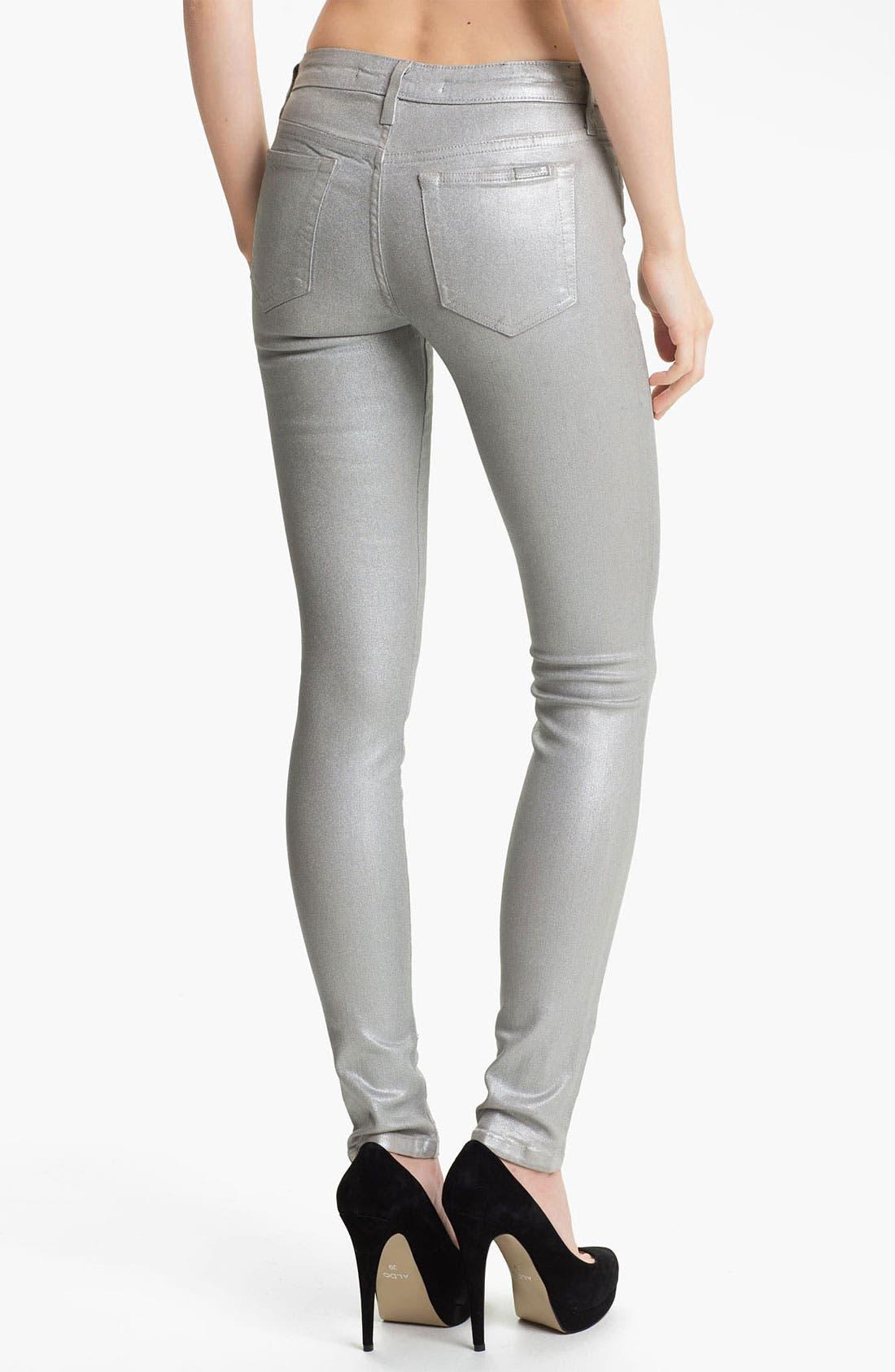 Alternate Image 2  - Joe's Coated Skinny Stretch Jeans (Silver Rock)