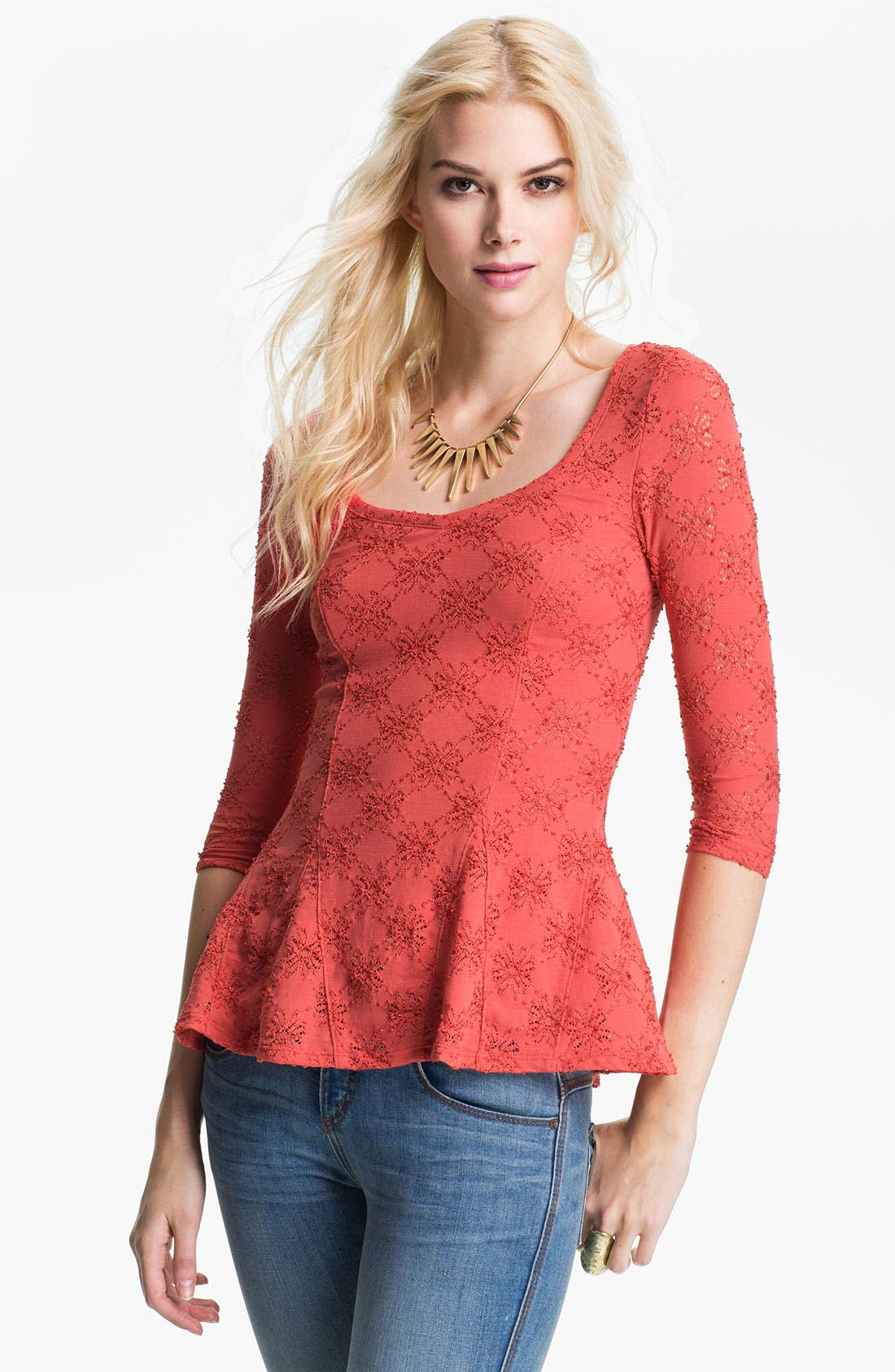 Alternate Image 1 Selected - Free People Daisy Pointelle Top