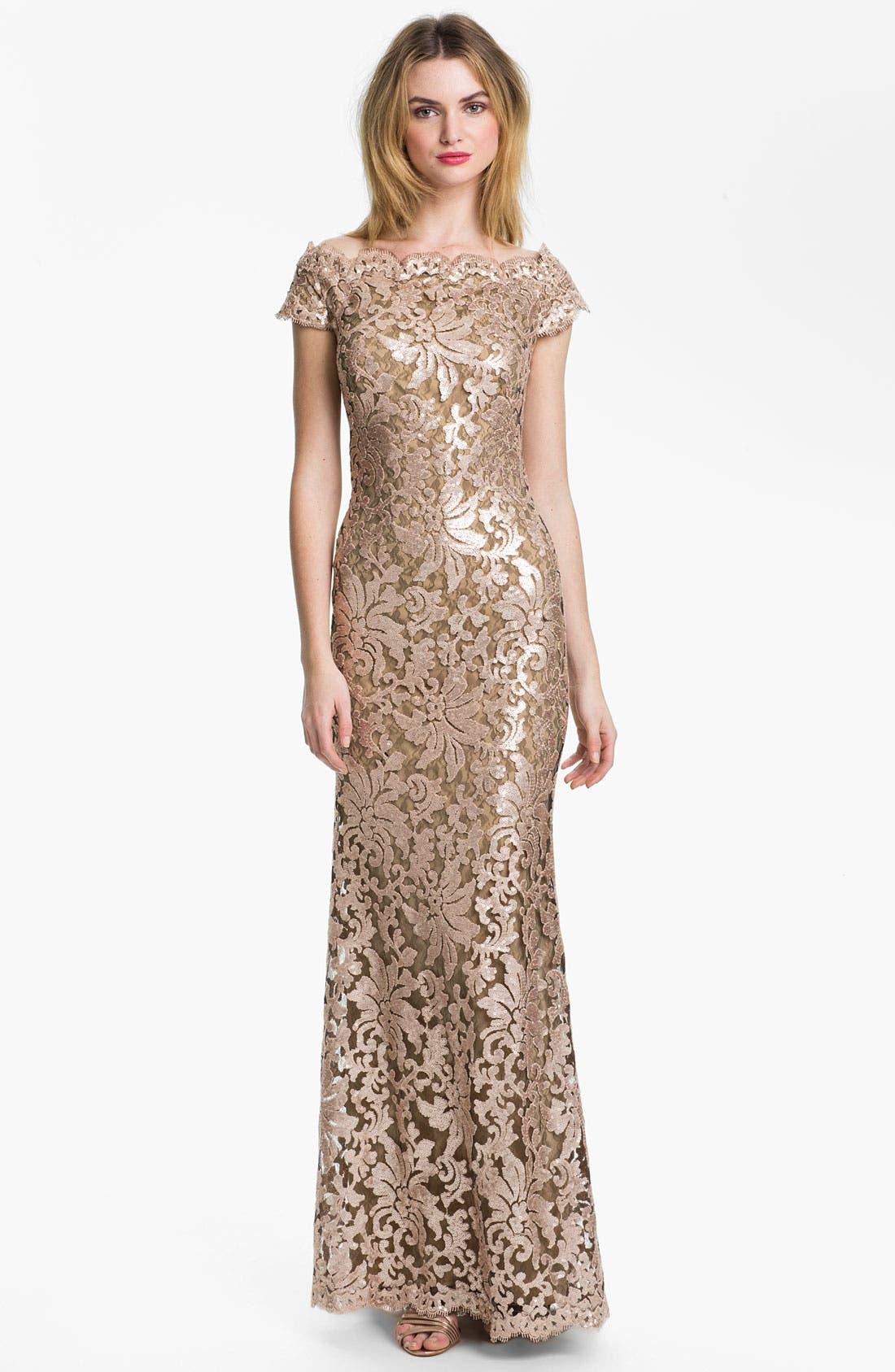 Alternate Image 1 Selected - Tadashi Shoji Sequin Lace Off Shoulder Gown