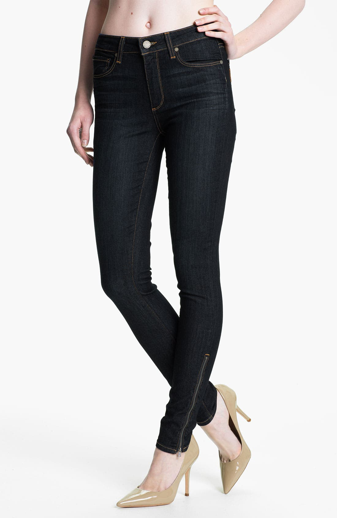 Alternate Image 1 Selected - Paige Denim 'Hoxton' Ankle Zip Skinny Jeans (Stream)