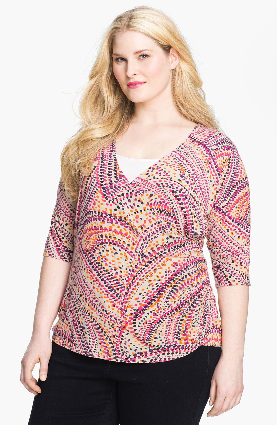 Main Image - Sejour 'Essential' Surplice Knit Top (Plus)