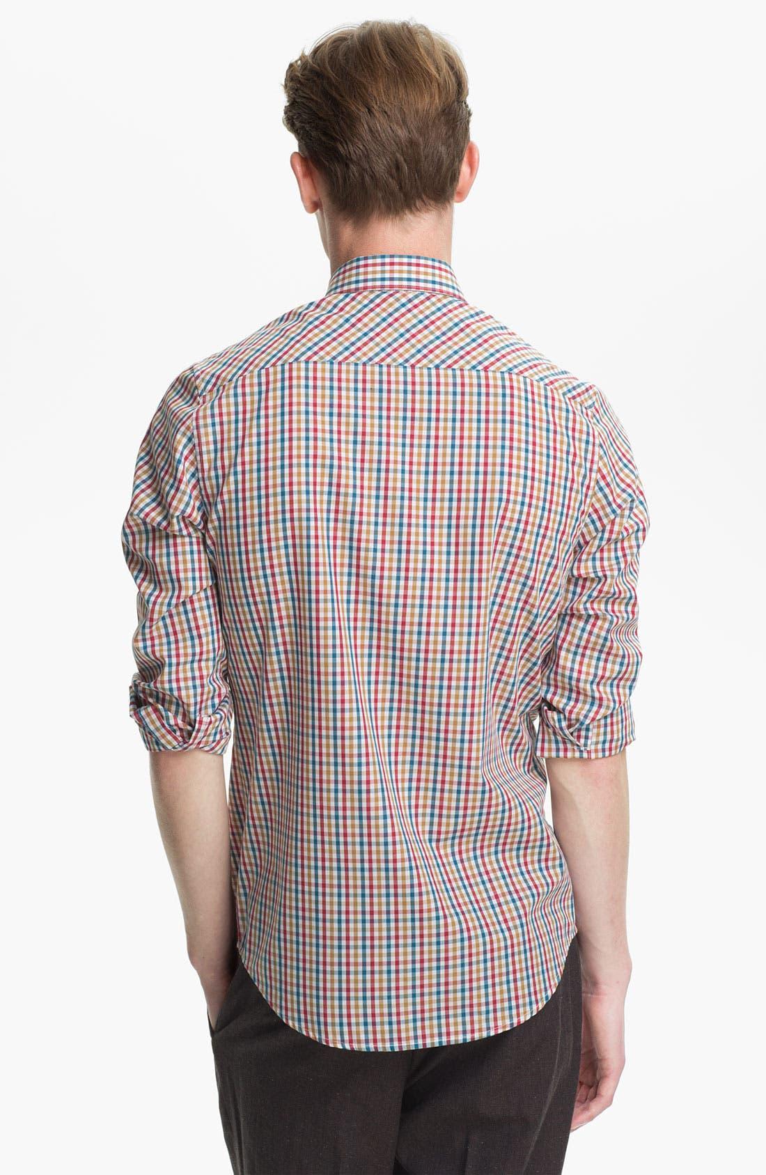 Alternate Image 2  - Topman Gingham Woven Shirt