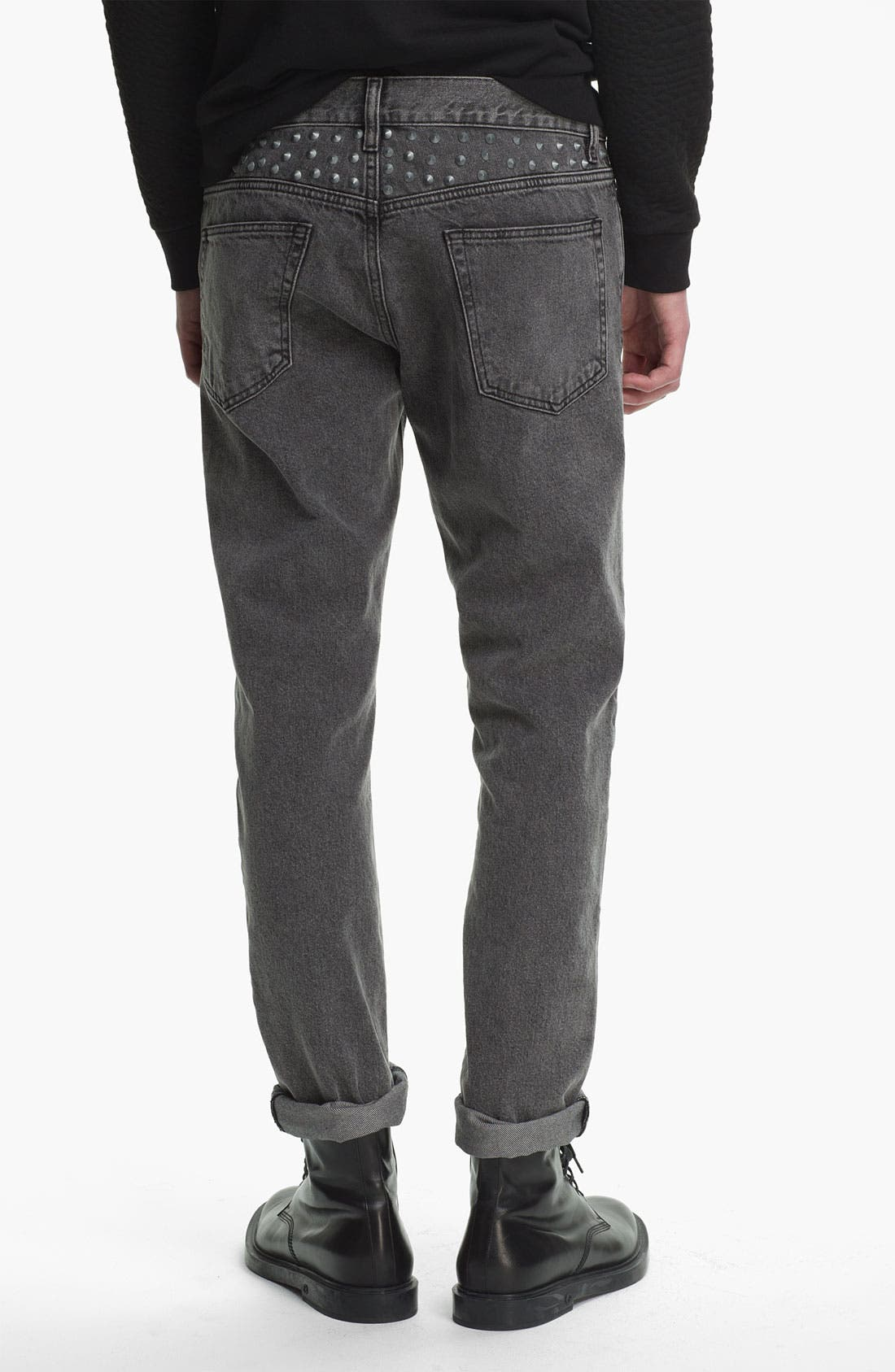 Alternate Image 1 Selected - Topman Studded Skinny Fit Jeans