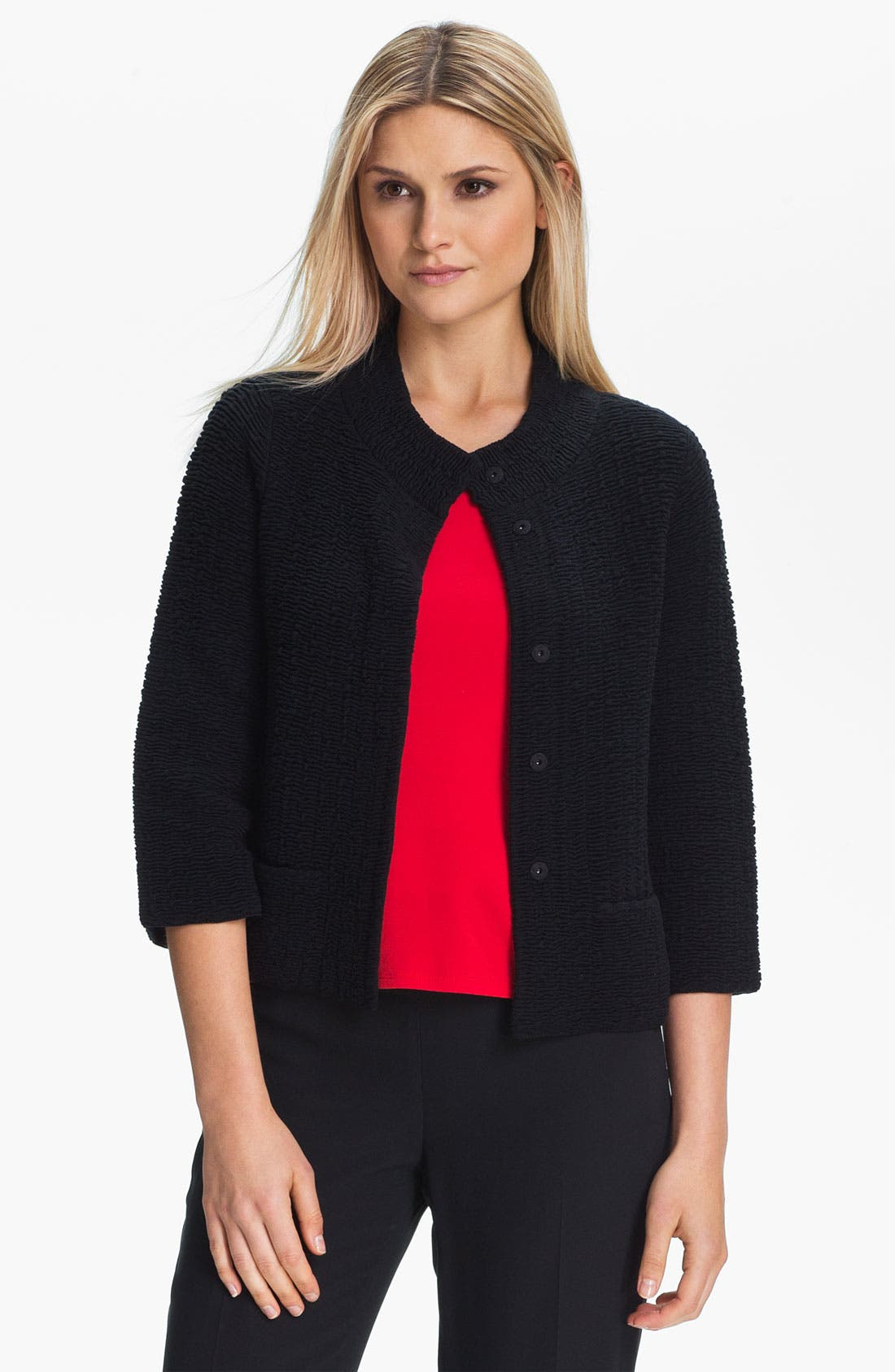 Alternate Image 1 Selected - Eileen Fisher Silk Blend Jacquard Jacket (Petite)