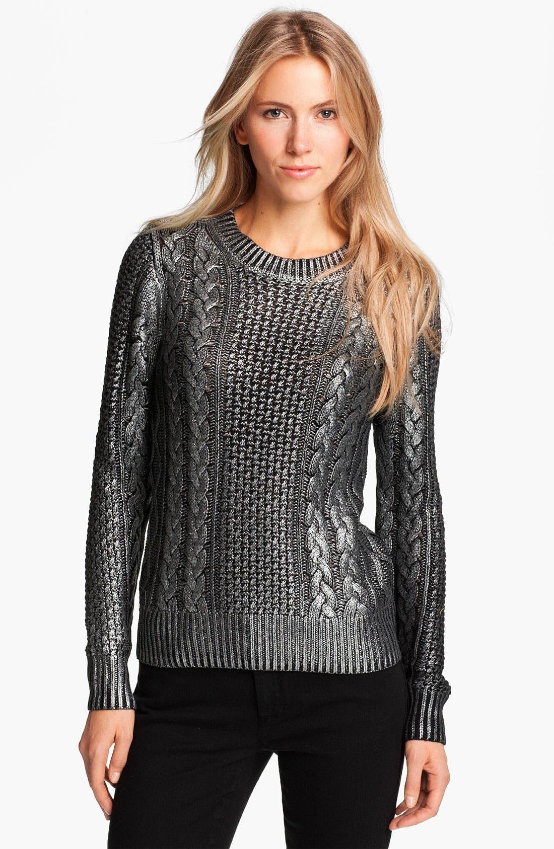 Main Image - MICHAEL Michael Kors Foiled Fisherman's Knit Sweater (Petite)