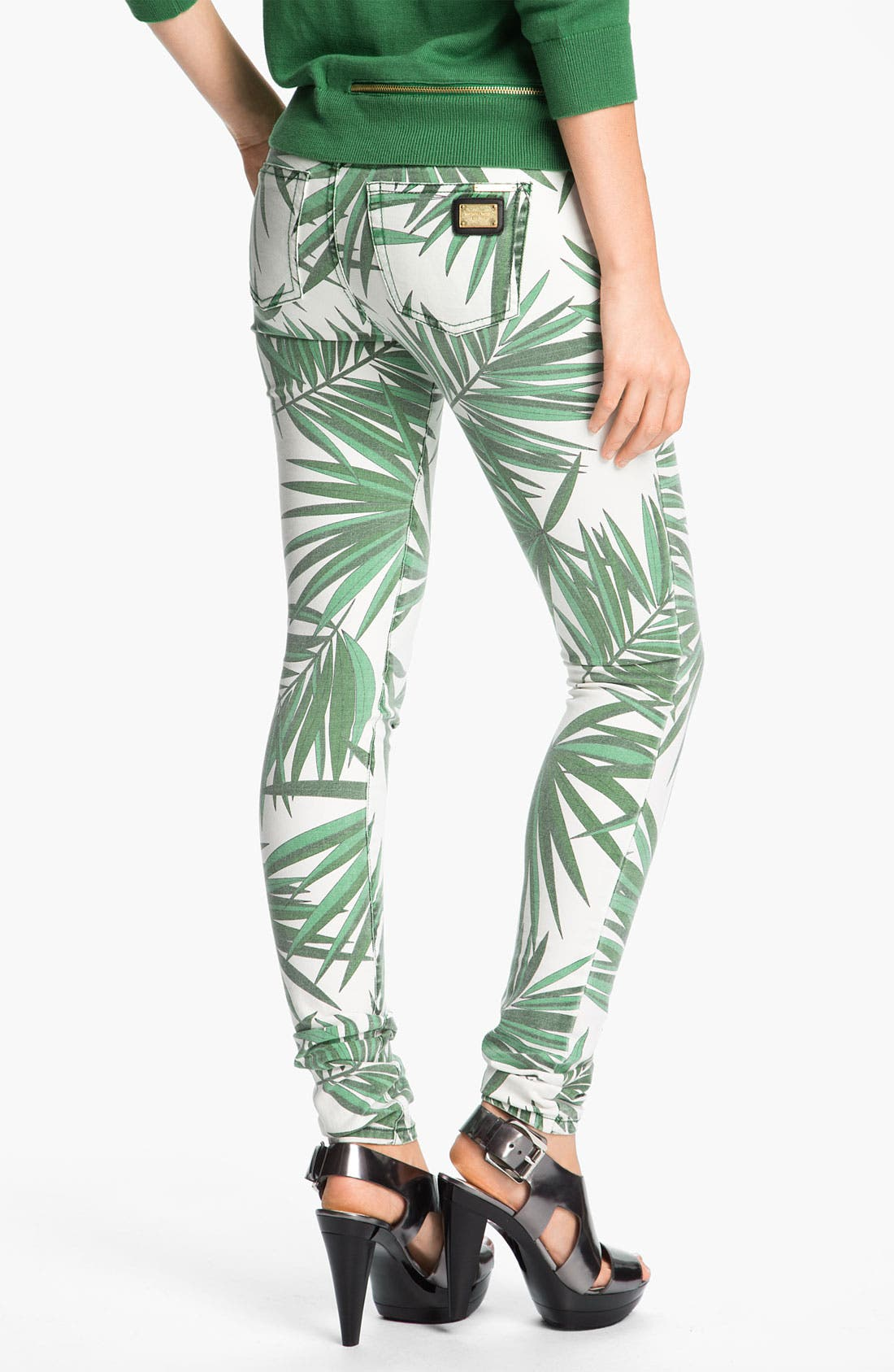 Alternate Image 2  - MICHAEL Michael Kors 'Tropical Palm' Skinny Jeans (Petite)