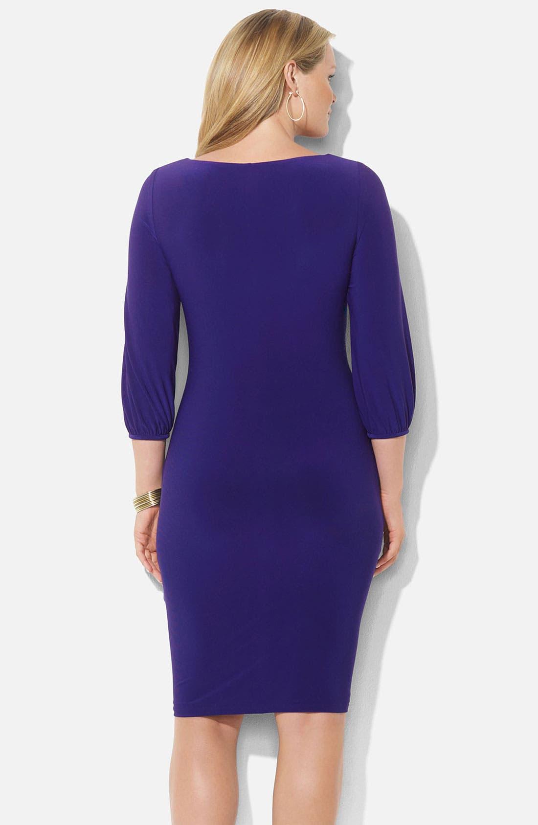 Alternate Image 2  - Lauren Ralph Lauren Drape Neck Jersey Sheath Dress (Plus)