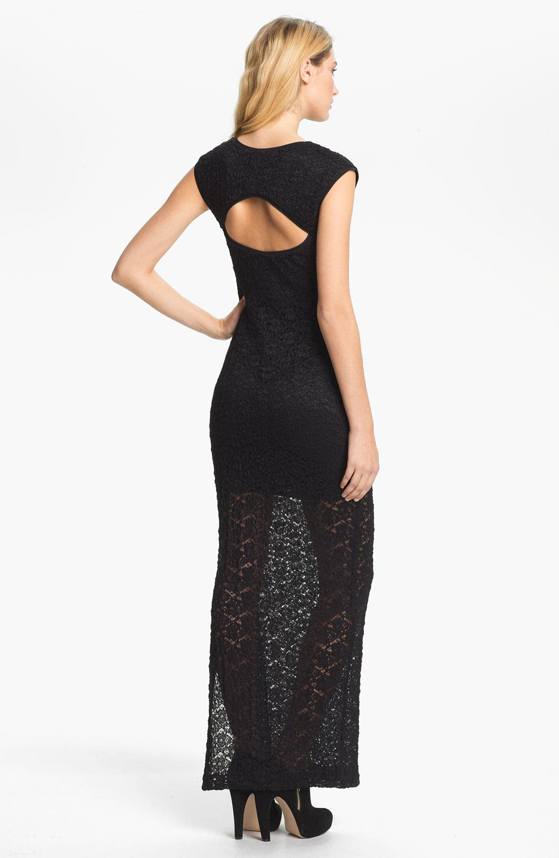 Alternate Image 2  - Nicole Miller Textured Lace Maxi Dress