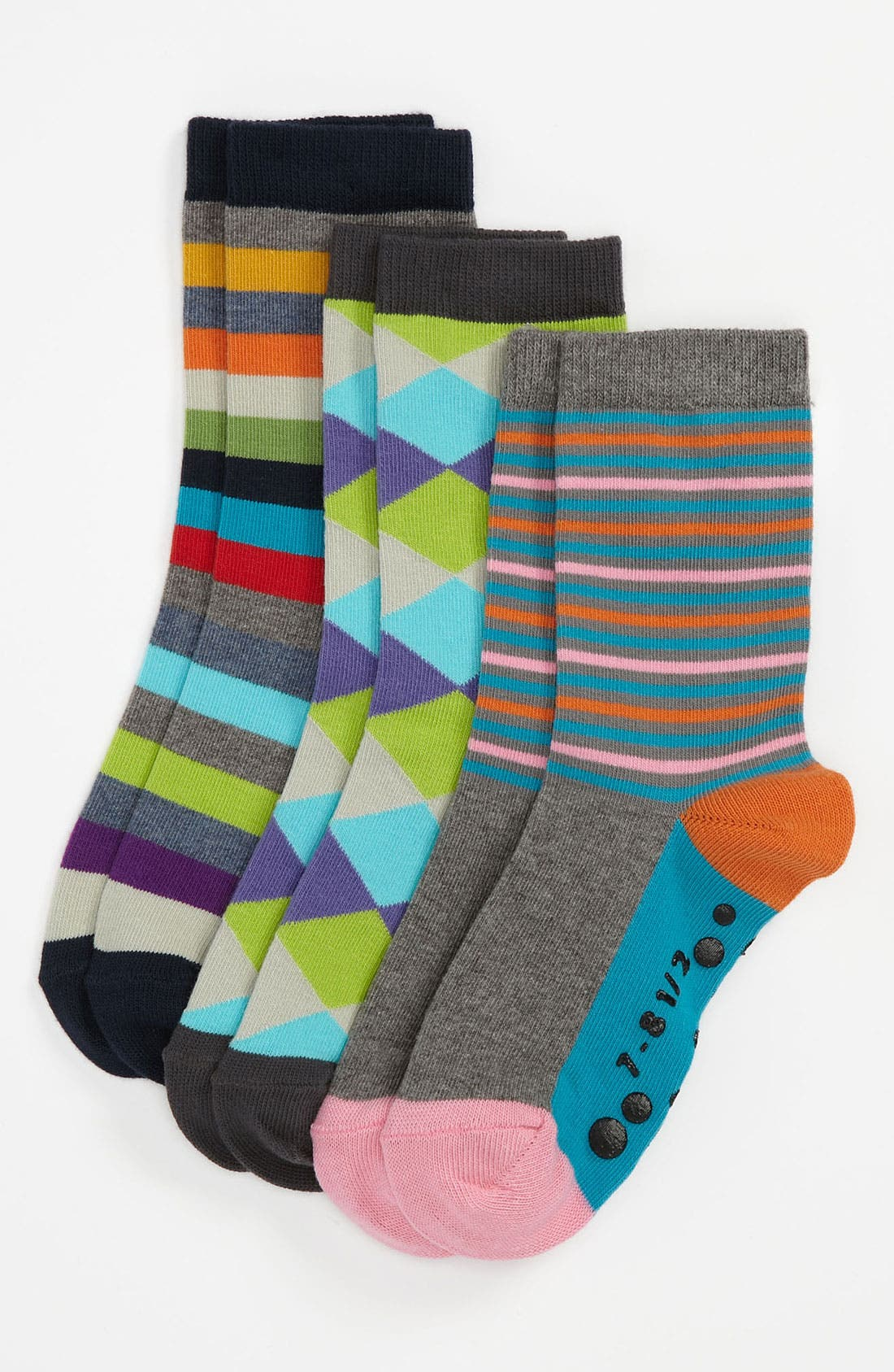 Alternate Image 1 Selected - Nordstrom 'Get Happy' Crew Socks (3-Pack) (Kids)