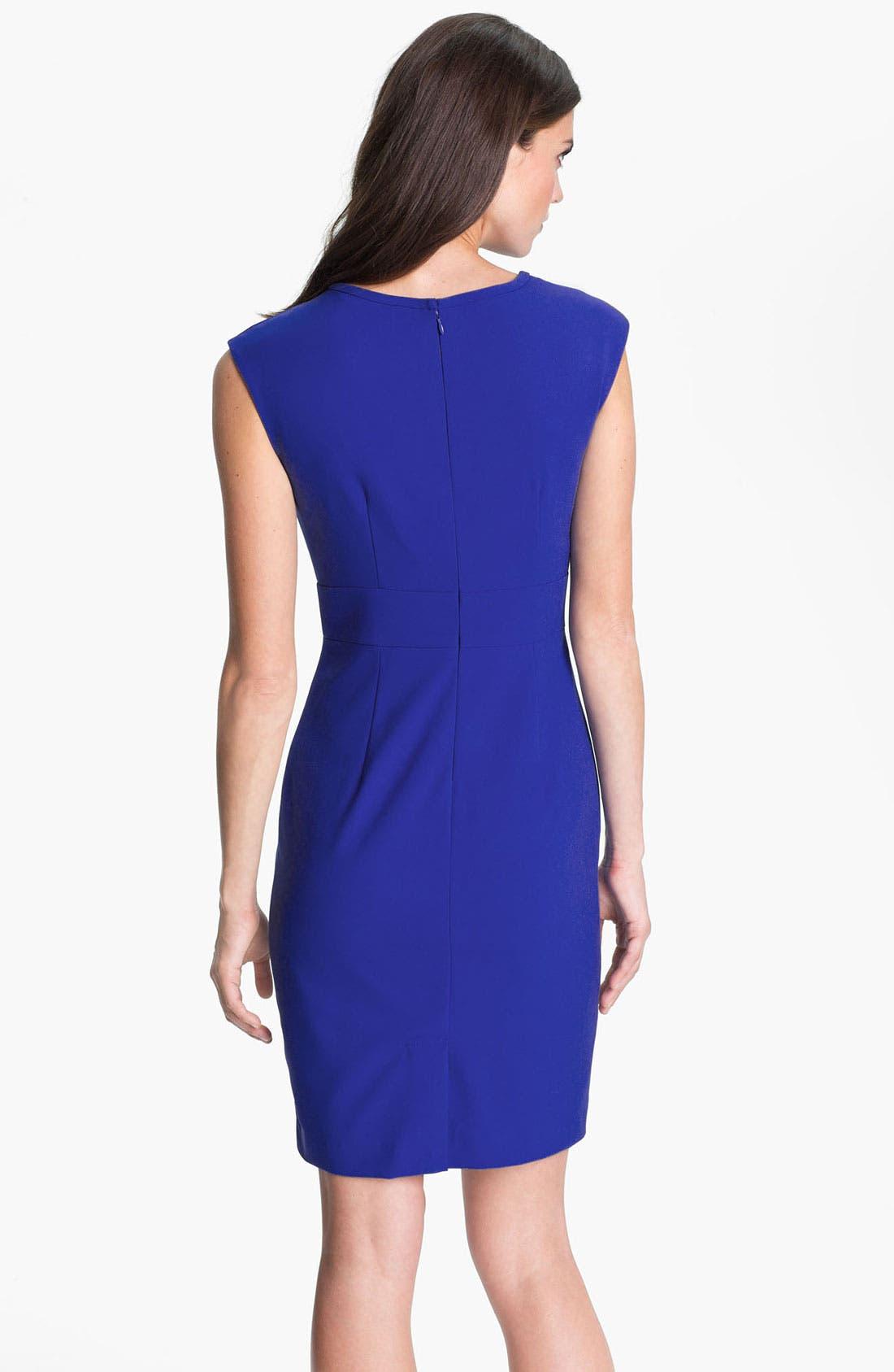 Alternate Image 2  - Calvin Klein Shirred Neck Cap Sleeve Sheath Dress