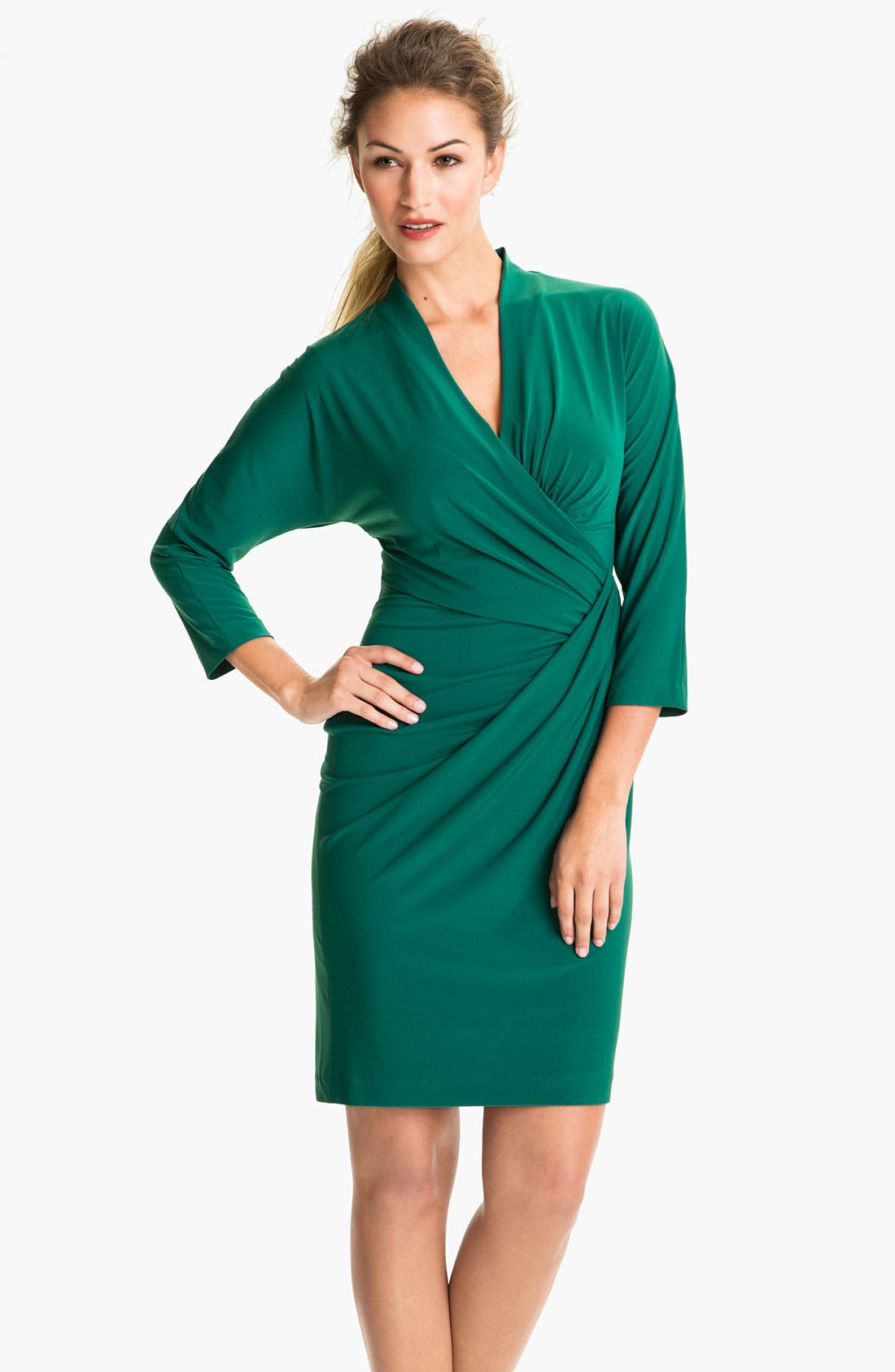 Main Image - Suzi Chin for Maggy Boutique Side Gather Jersey Dress (Petite)