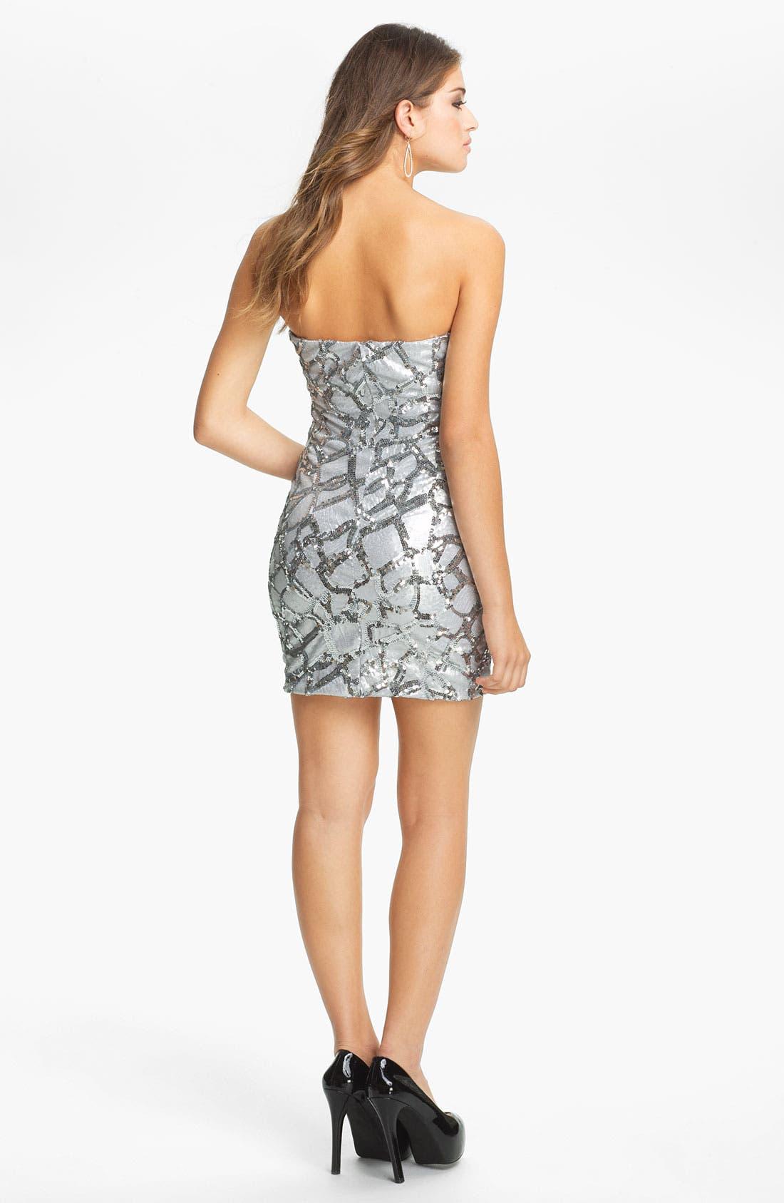 Alternate Image 2  - As U Wish Embellished Animal Print Body-Con Dress (Juniors)