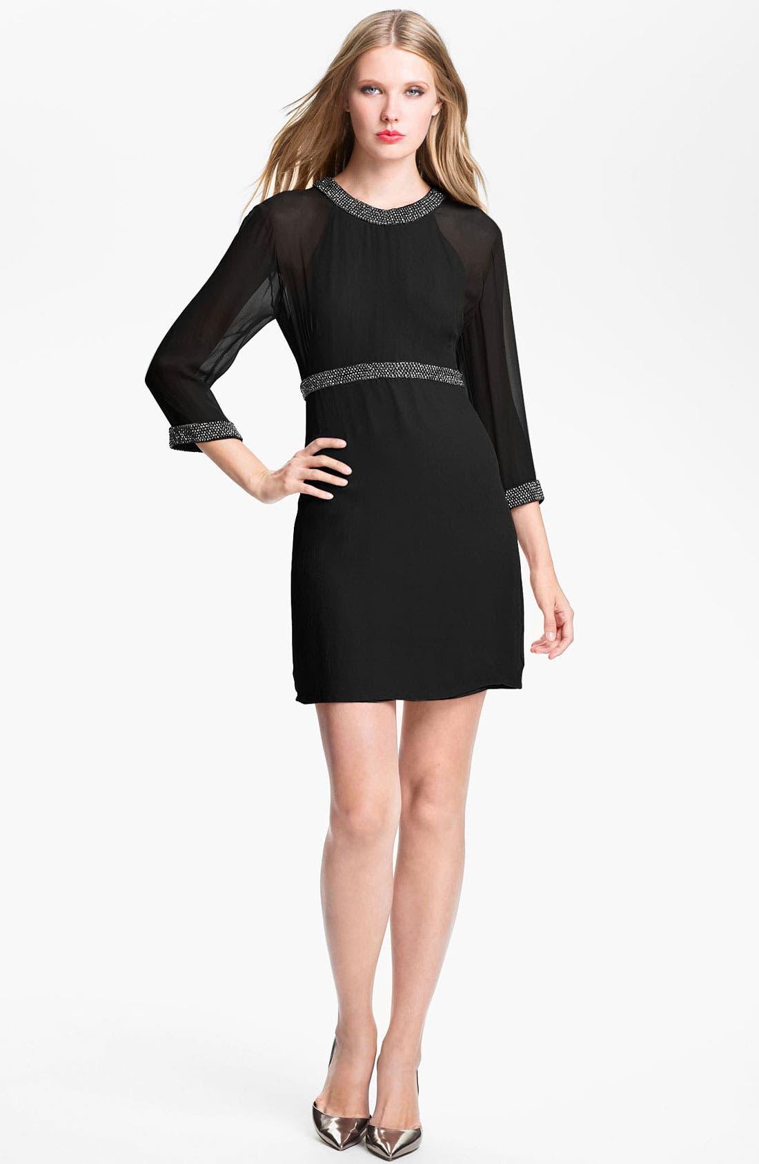Main Image - French Connection Beaded Trim Silk Chiffon Dress