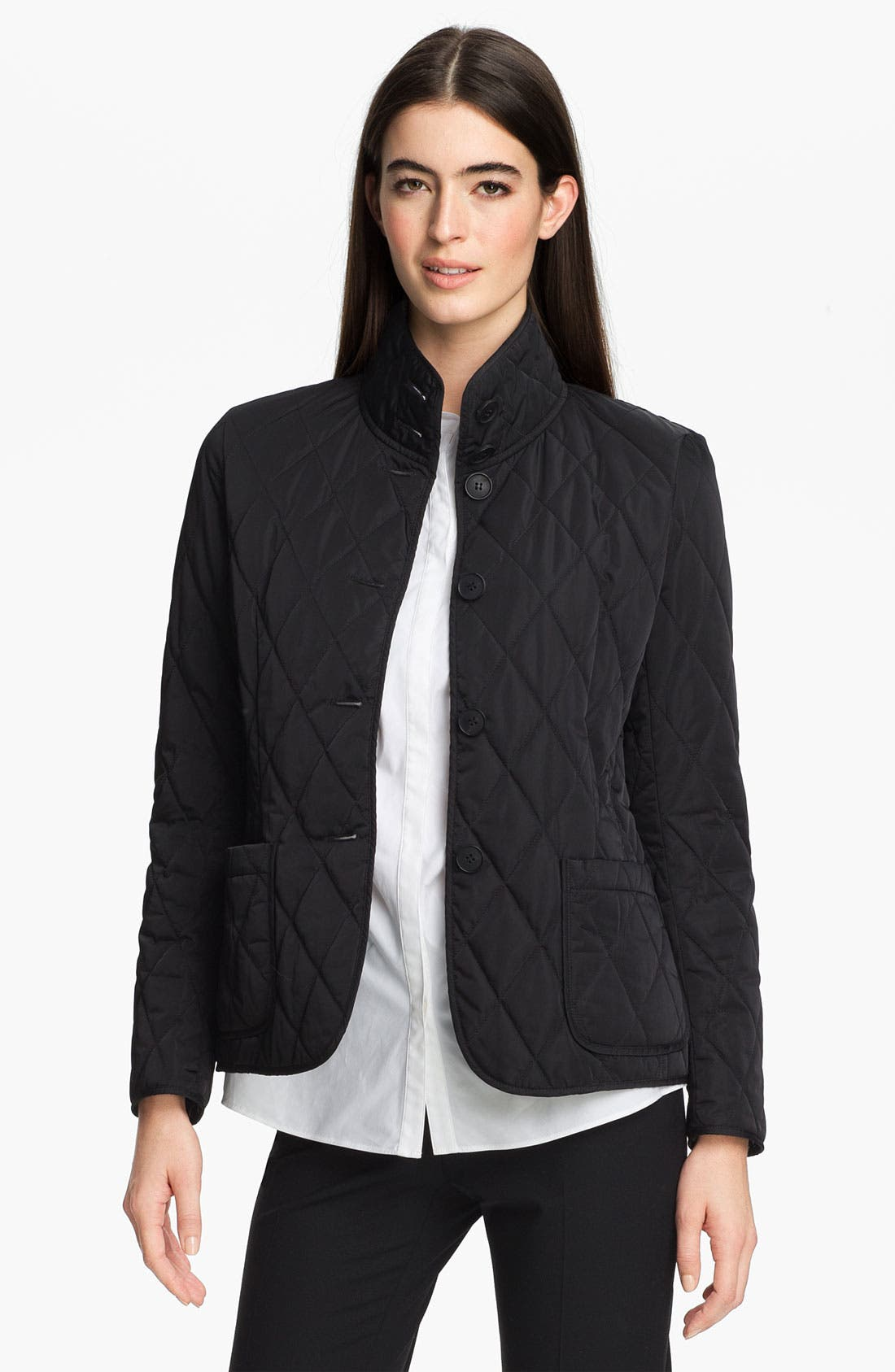 Main Image - Lafayette 148 New York Stand Collar Quilted Jacket