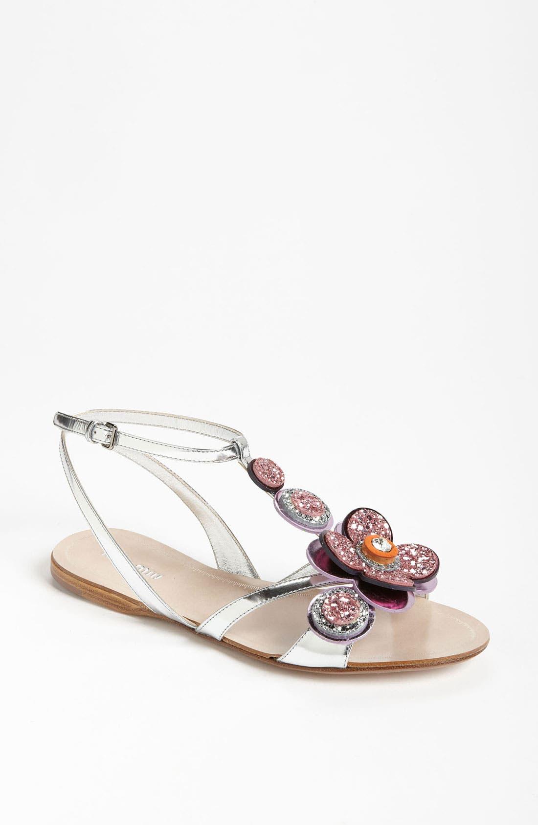 Main Image - Miu Miu T-Strap Flower Sandal