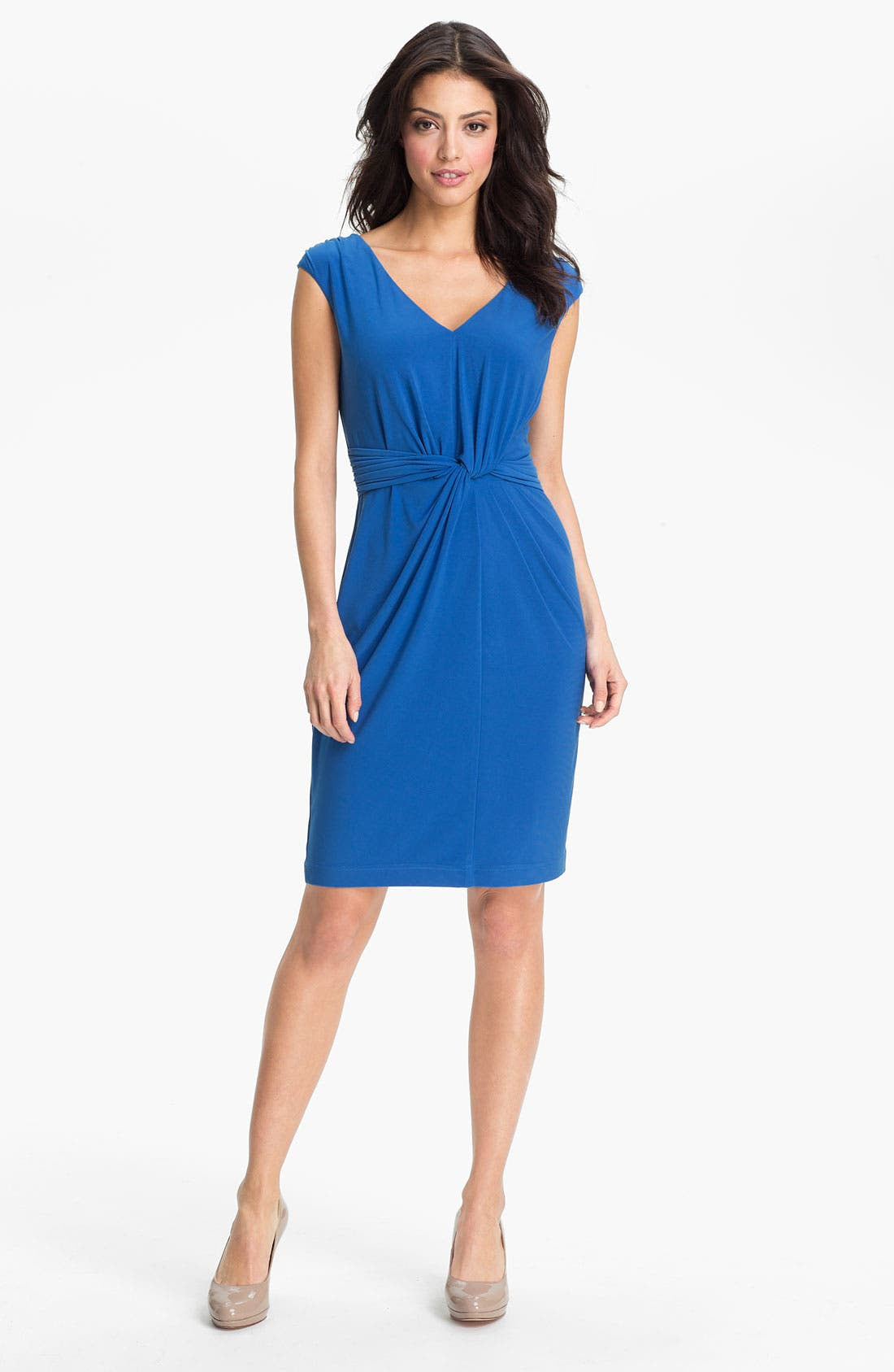Alternate Image 1 Selected - Adrianna Papell Twist Front Matte Sheath Dress