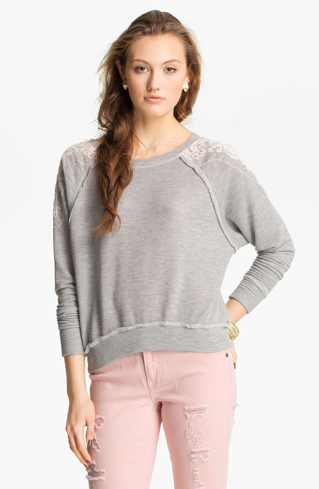 Alternate Image 1 Selected - Ten Sixty Sherman Lace Appliqué Sweater (Juniors)