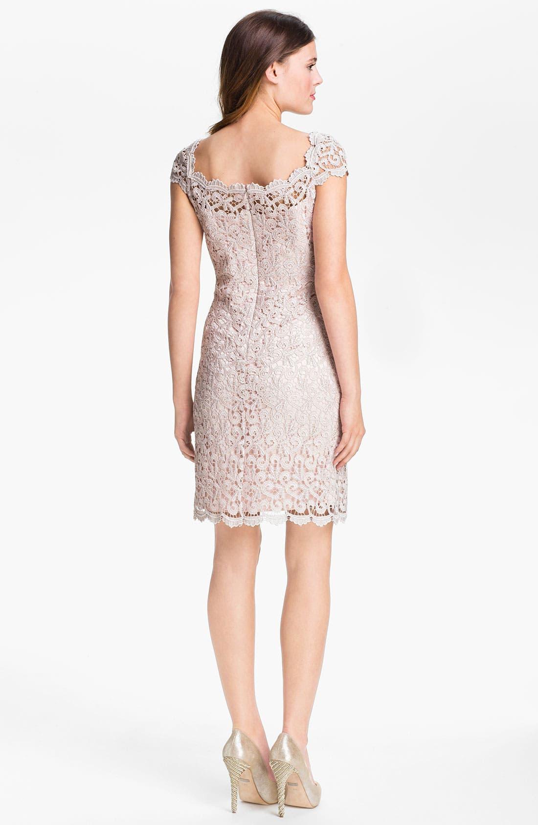 Alternate Image 2  - Suzi Chin for Maggy Boutique Scalloped Lace Sheath Dress