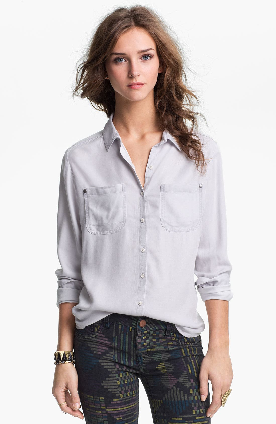 Alternate Image 1 Selected - Rubbish Relaxed Menswear Shirt (Juniors)