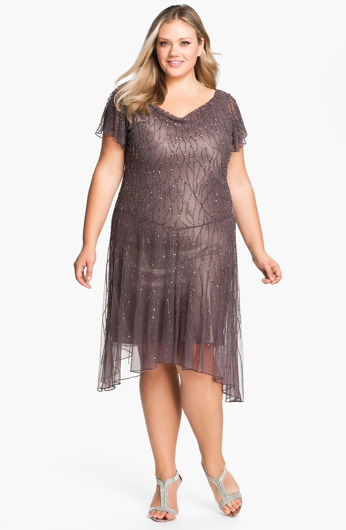 Main Image - J Kara Beaded Flutter Sleeve Dress (Plus)