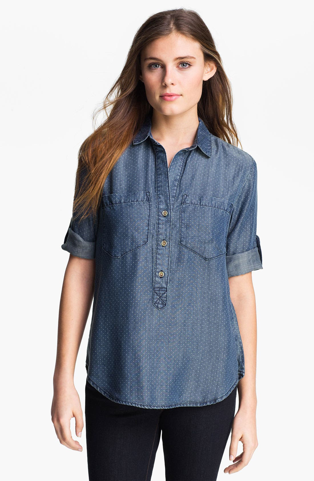 Alternate Image 1 Selected - Side Stitch Dot Chambray Shirt