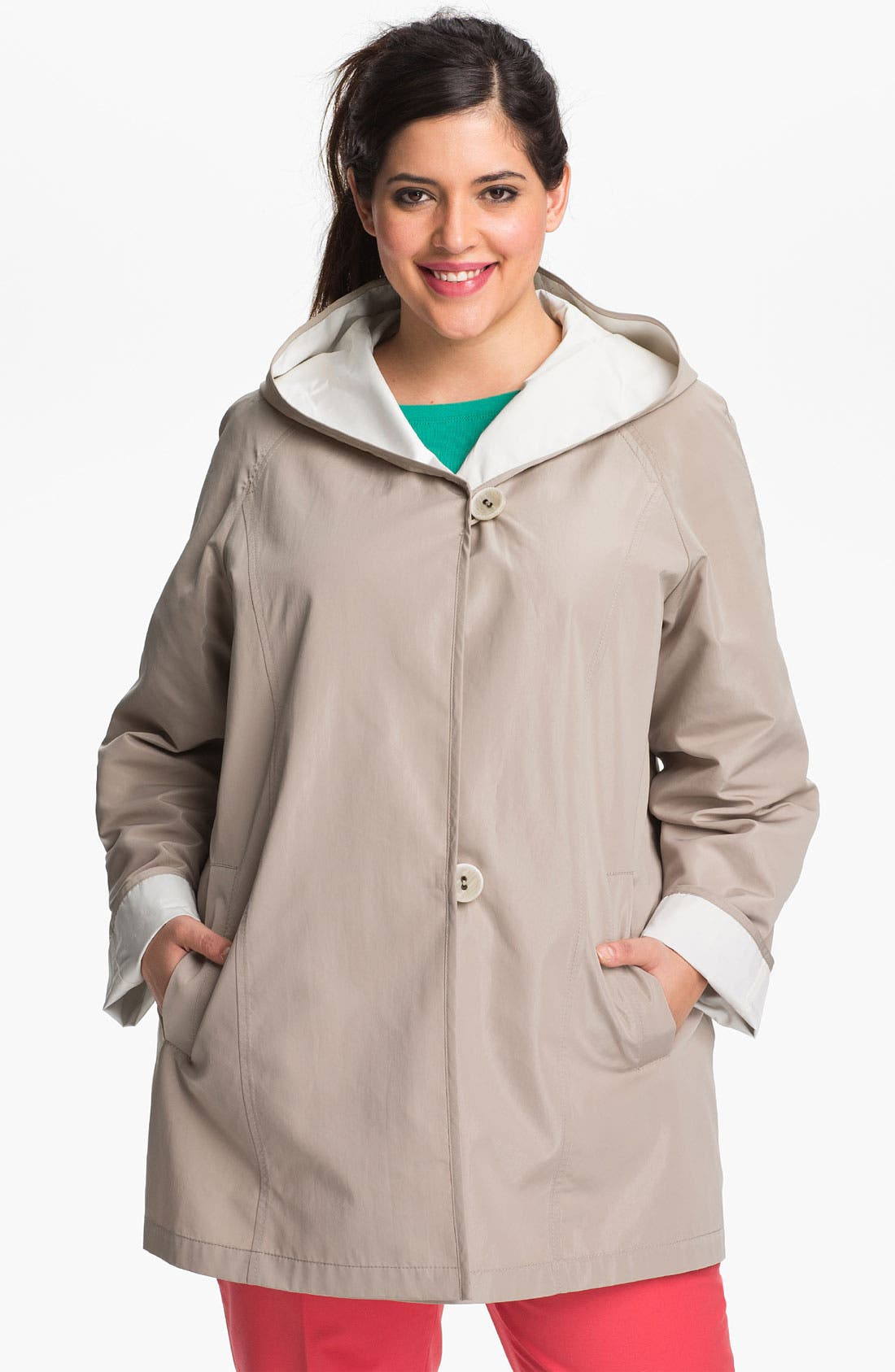 Alternate Image 2  - Gallery Reversible Hooded Jacket (Plus Size)