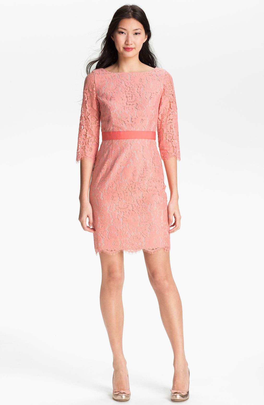 Alternate Image 1 Selected - Eliza J Boatneck Lace Sheath Dress