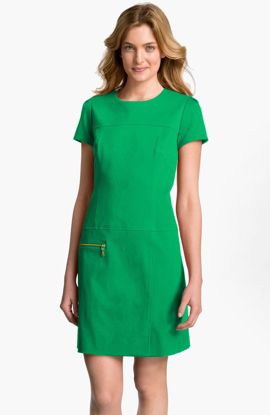 Alternate Image 1 Selected - Tahari by Arthur S. Levine Exposed Zip Shift Dress