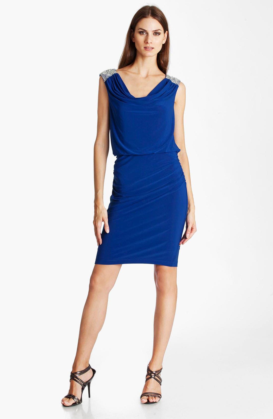 Alternate Image 1 Selected - JS Boutique Jeweled Cowl Neck Blouson Dress