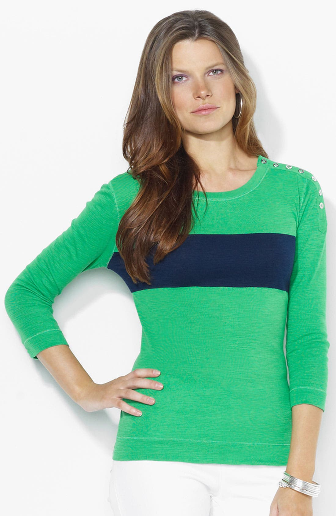 Alternate Image 1 Selected - Lauren Ralph Lauren Button Shoulder Top (Petite) (Online Exclusive)