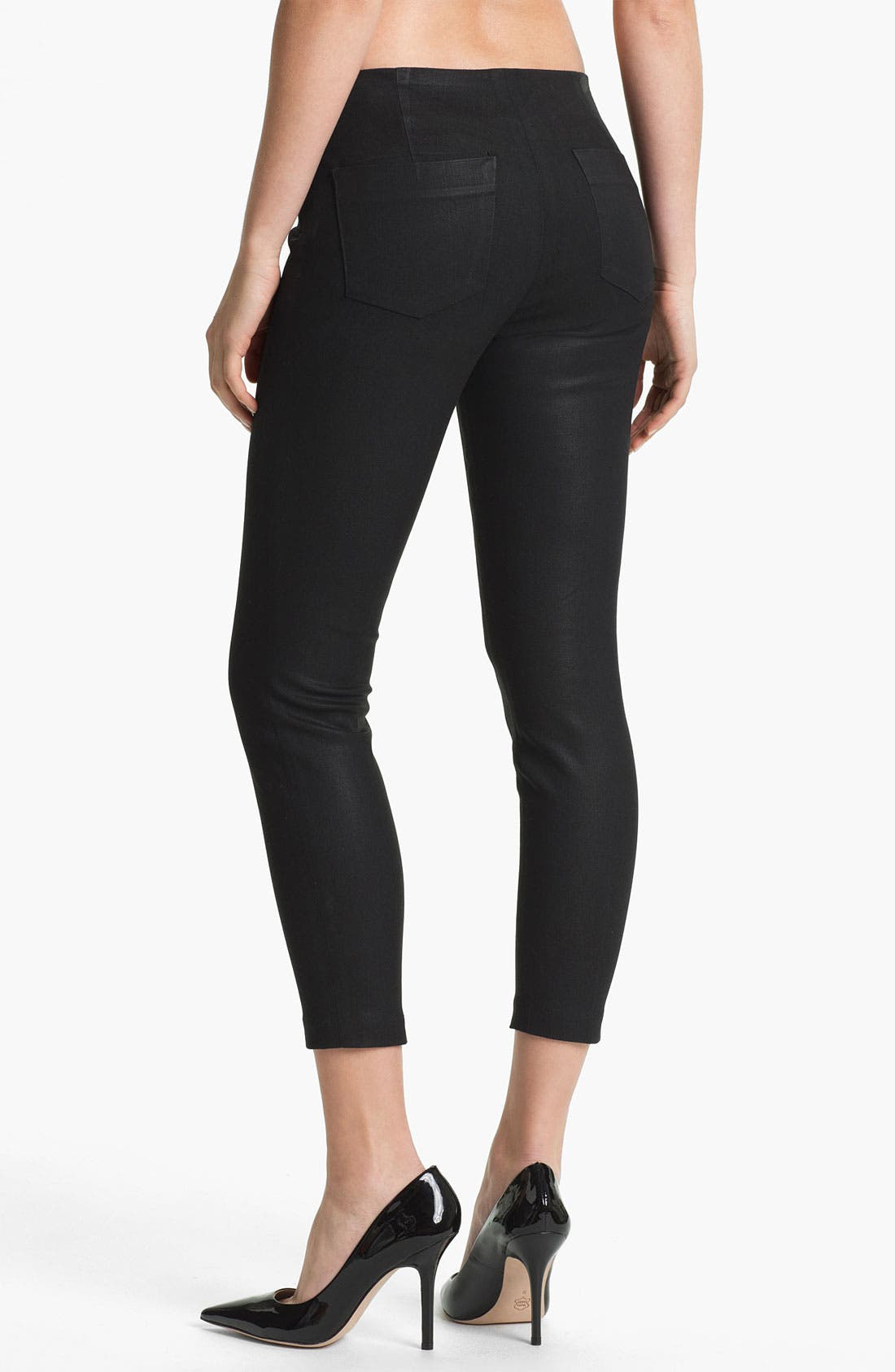 Alternate Image 2  - J Brand Stretch Capri Leggings (Coated Black)