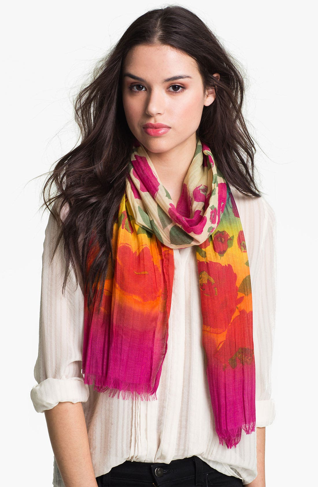 Alternate Image 1 Selected - Chelsey Watercolor Flowers Scarf