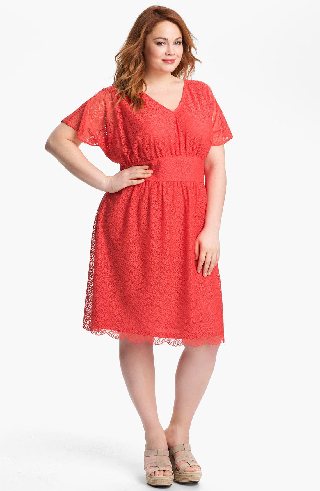Alternate Image 1 Selected - Adrianna Papell Empire Waist Lace Dress (Plus Size)
