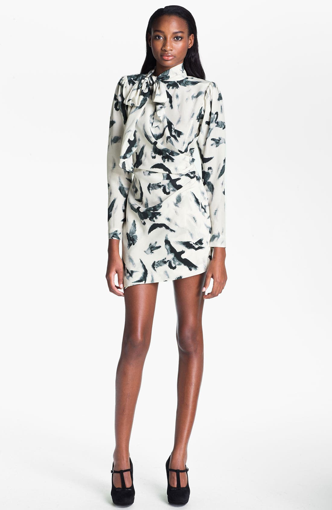 Alternate Image 1 Selected - Skaist-Taylor 'Tippi' Print Asymmetrical Hem Silk Dress
