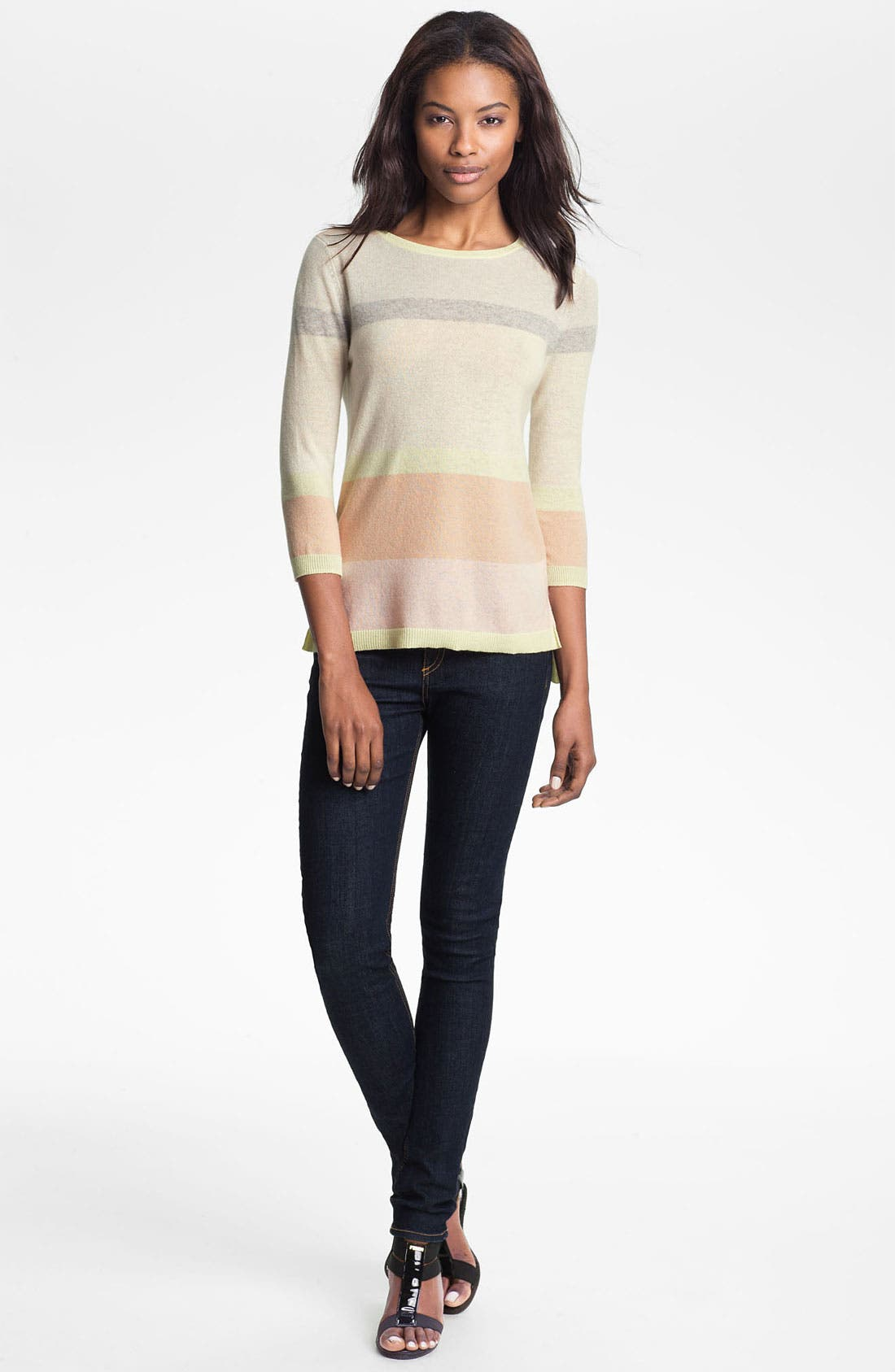 Alternate Image 1 Selected - autumn cashmere Stripe High/Low Sweater