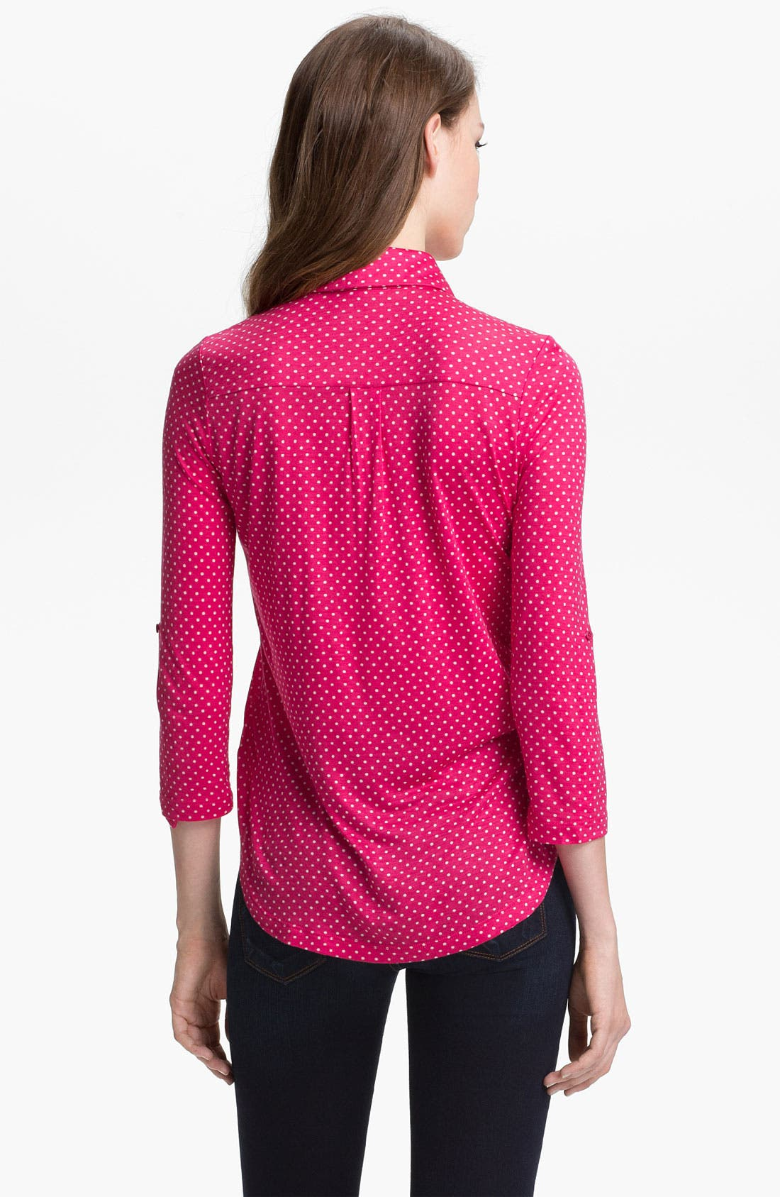 Alternate Image 2  - Pleione Half Placket Mini Dot Top (Petite)